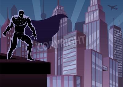 Плакат Супергерой смотреть на город. Нет прозрачности используется. Основные (линейный) градиенты. A4 пропорции.