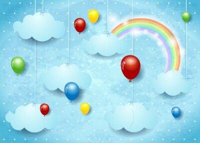 Плакат Сюрреалистическая Cloudscape с красочные воздушные шары