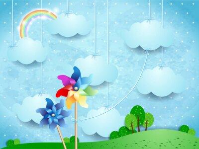 Плакат Сюрреалистический пейзаж с флюгеры и подвесными облаками