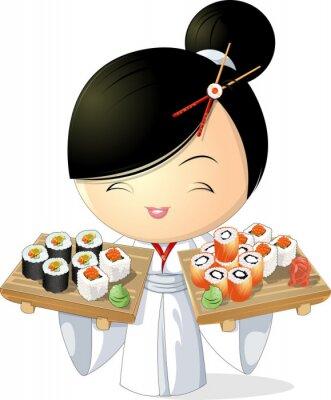 Плакат суши девушка