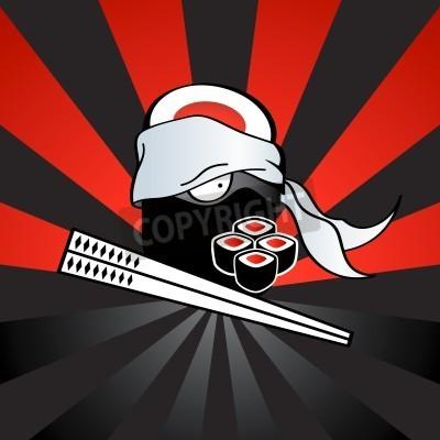 Плакат Sushi ninja with dangerous katana-chopsticks and spicy rolls