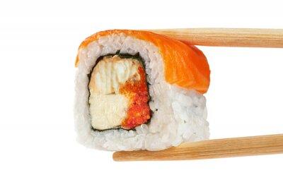 Плакат Суши-роллы с лососем, угрем, икрой и сыром филадельфия. Ch