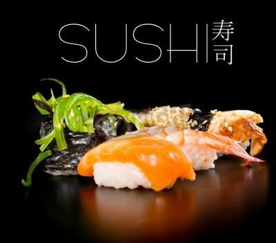 Плакат Sushi set over black background