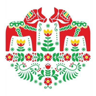 Плакат Шведский Дала или Daleclarian лошадь цветочный народная картина