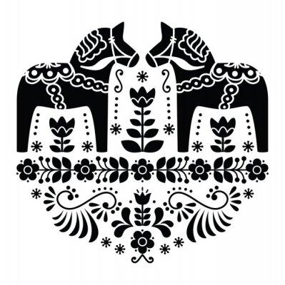Плакат Шведский Дала или Daleclarian лошадь народная картина в черном