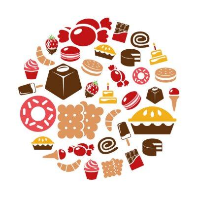 Плакат sweets icons in circle