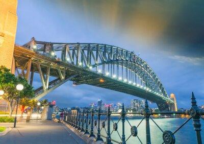 Плакат Сидней, Новый Южный Уэльс. Удивительный вид закат мост Харбор-Бридж
