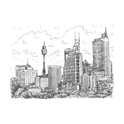 Плакат Сиднейская башня и небоскребов Вид Сидней, Австралия. Вектор руки эскиз карандаша.