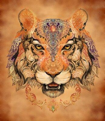 Плакат Татуировка, графика глава тигра