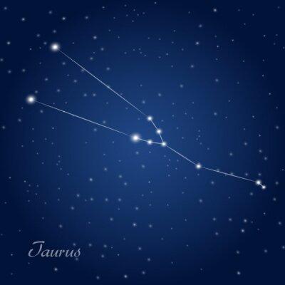 Плакат Телец созвездие знак зодиака на звездное ночное небо