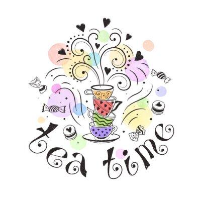 Плакат Время чая постер концепция. Дизайн Tea партбилет. Ручной обращается иллюстрации Doodle с чайники, чашки и сладости.