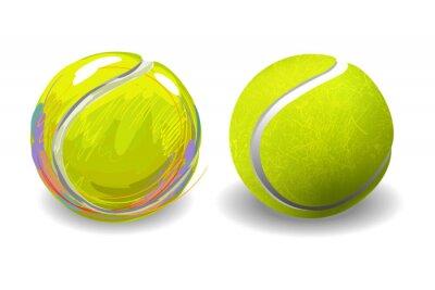 Плакат Теннисный мяч, изолированных на белом фоне. Все элементы в отдельных слоях и сгруппированы.