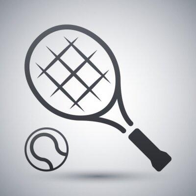 Плакат Теннисные ракетки и теннисный мяч, вектор значок