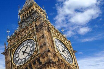 Плакат Биг-Бен закрыть на синем небе, Англия Великобритания