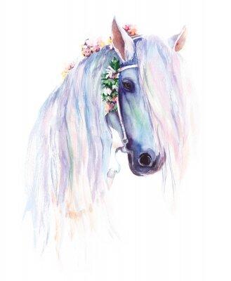 Плакат Синяя лошадь с цветами в гриве. Оригинальная акварельная живопись.