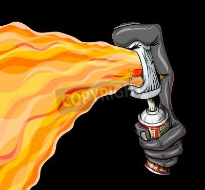 Плакат Контейнер краска спрей пожарной граффити.