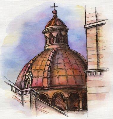 Плакат знаменитый здание Санта Мария Рука рисования акварелью в Флоренции