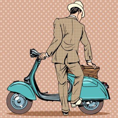 Плакат Человек получает скутер