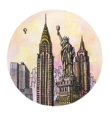 Плакат Нью-Йорк с памятника Свободы акварель рисунок, рука Famouse buillding изолированных архитектурной части на белом фоне.
