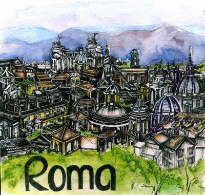 Плакат панорамный вид рома акварель Европейского союза