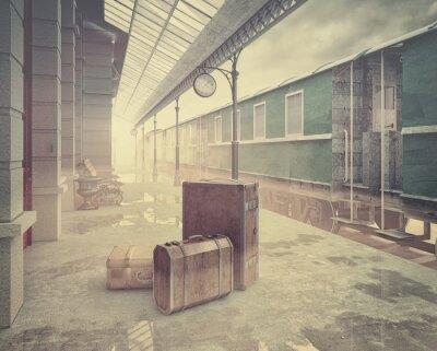 Плакат  the retro railway  train station