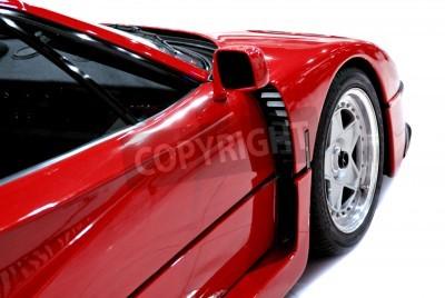 Плакат Боковые и передний конец красного спортивного автомобиля