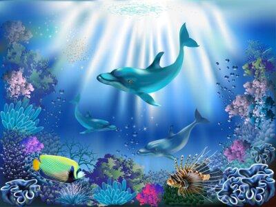 Плакат Подводный мир с дельфинами и растений