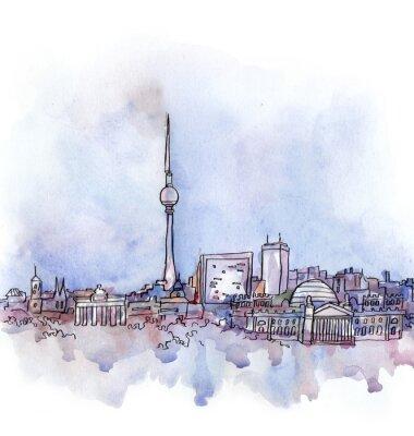 Плакат вид Берлина акварель страны Европейского союза, изолированных на белом фоне