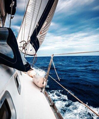 Плакат Белые паруса яхт на фоне моря и неба в облаках