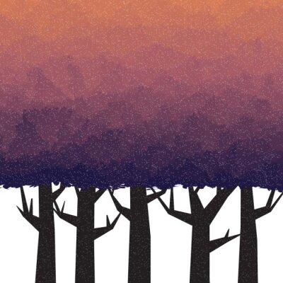 Плакат Густой лес в сумерки время