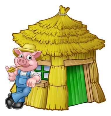 Плакат Три маленьких свиньи Сказочный дом соломы
