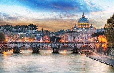 Плакат Тибр и Петра Базилика Святого в Ватикане с радугой, Рим