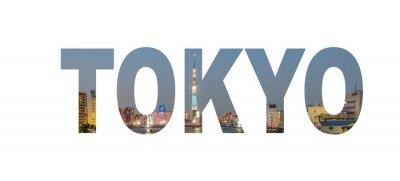 Плакат название Tokyo City знак с фото в фоновом режиме. Изолированные на белом фоне ..