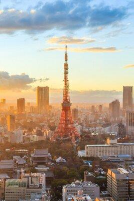 Плакат Tokyo city skyline at sunset in Tokyo