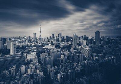 Плакат Tokyo City Просмотр и Токийская башня в темные тона