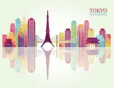 Плакат Токио подробные Skylines. векторные иллюстрации
