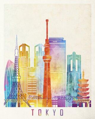 Плакат Достопримечательности Токио акварель