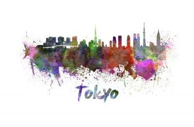 Плакат Токио горизонты акварелью