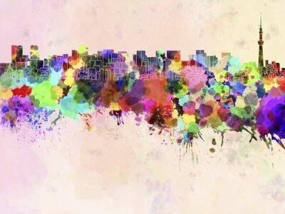 Плакат Токио горизонты в акварельной фоне