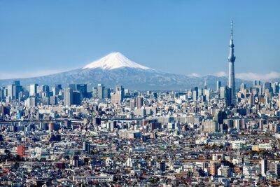 Плакат Токио горизонты с горы Фудзи и Skytree