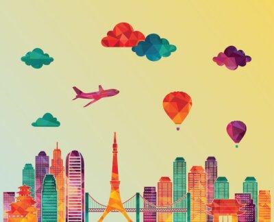Плакат Токио горизонта. Векторная иллюстрация