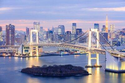 Плакат Токио Токио горизонта с башни и мост радуги
