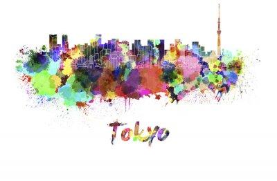 Плакат Токио V2 горизонта в акварели