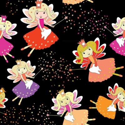 Плакат Зубные феи с волшебными палочками и звездами вокруг. Бесшовный узор. Векторная иллюстрация на черном фоне