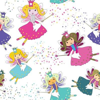Плакат Зубные феи с волшебными палочками и звездами вокруг. Бесшовный узор. Векторная иллюстрация на белом фоне