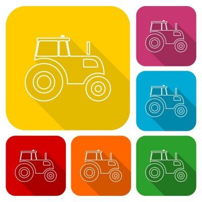 Плакат Тракторные набор иконок с длинной тенью