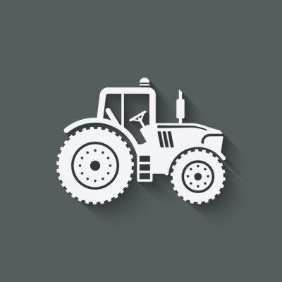 Плакат трактор значок силуэт