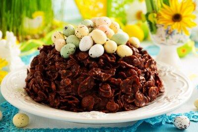 Плакат Традиционный Пасхальный пирог шоколада с шоколадными яйцами.