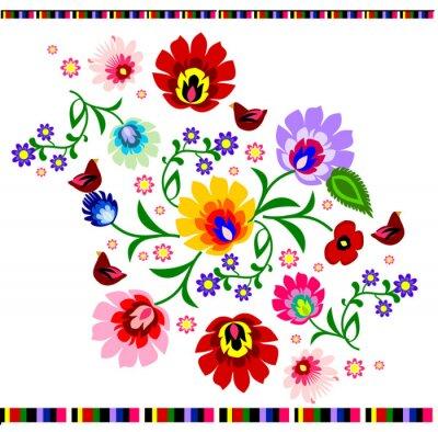 Плакат Традиционный польский вектор цветочные народная картина