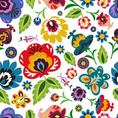 Плакат Традиционный польский народный цветочный узор вектор